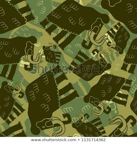 mammoth military pattern seamless prehistoric elephant khaki so stock photo © popaukropa