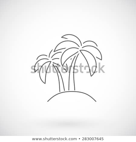 Siyah vektör hurma ağacı ince hat ikon Stok fotoğraf © blumer1979