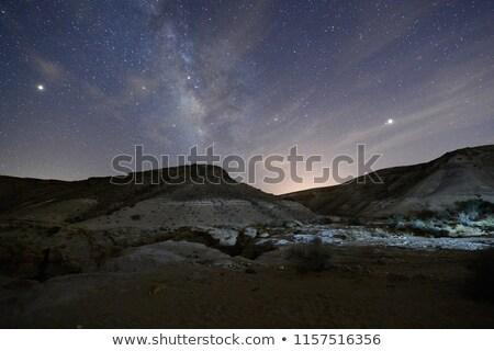 Stockfoto: Nacht · woestijn · landschap · illustratie · maan · achtergrond