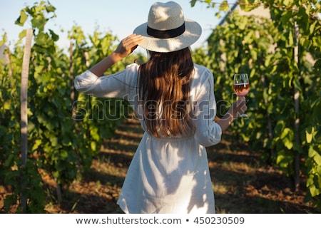 degustacja · wina · piękna · portret · piękna · młodych · brunetka - zdjęcia stock © boggy