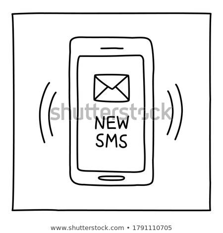 Mobiltelefon sms kézzel rajzolt skicc firka ikon Stock fotó © RAStudio