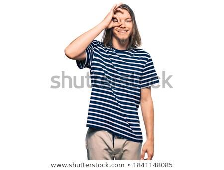 Kafkas adam çizgili tshirt gülen bakıyor Stok fotoğraf © deandrobot