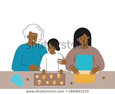 old woman makes christmas cookies in the kitchen vector isolated illustration stock photo © pikepicture