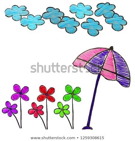 Verão esboço espaço texto árvores lagoa Foto stock © Lady-Luck