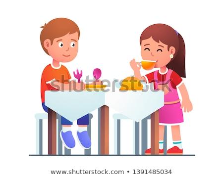 Menino jantar colher queijo cara criança Foto stock © Pozn