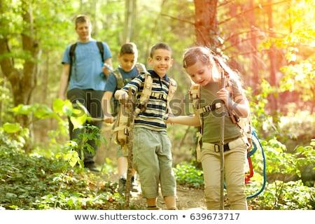 Foto stock: Grupo · camping · crianças · natureza · ilustração · árvore