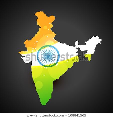 Mapa India bandera tricolor libertad país Foto stock © SArts