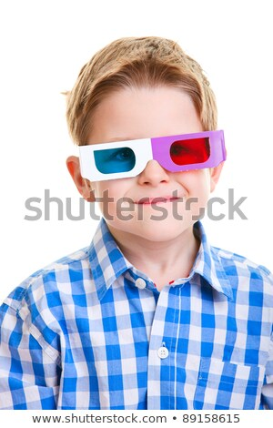 Little boy wearing 3D glasses and watching television Stock photo © Lopolo