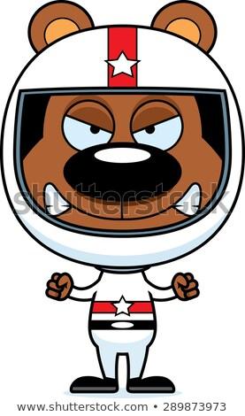 Cartoon boos race auto bestuurder beer naar Stockfoto © cthoman