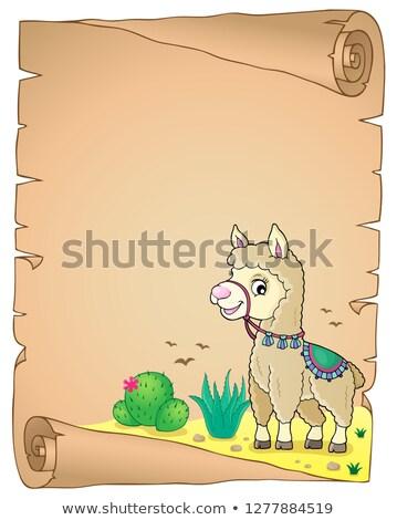 Llama pergamino papel feliz arte viaje Foto stock © clairev