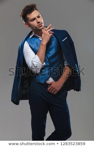 adam · takım · elbise · gömlek · kemer · yandan · görünüş - stok fotoğraf © feedough