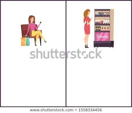Shopping Woman Near Beauty Cosmetics Stand Poster Stock photo © robuart