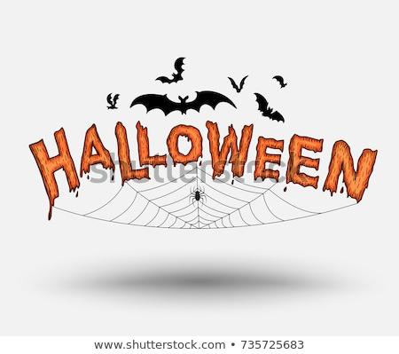 Halloween calabazas tela de arana decoraciones vacaciones Foto stock © dolgachov
