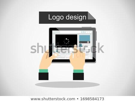 üzletember · interaktív · érintőképernyő · illusztráció · üzlet · kéz - stock fotó © rastudio