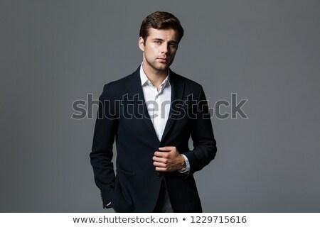 изображение концентрированный бизнесмен 30-х годов черный куртка Сток-фото © deandrobot