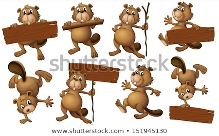 Wooden log sign with wild animals Stock photo © colematt
