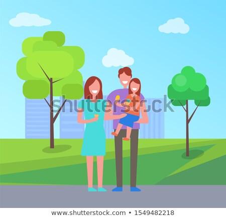 Familia feliz tiempo Pareja nino caminata aire libre Foto stock © robuart