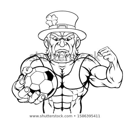 Leprechaun Holding Soccer Ball Sports Mascot Stock photo © Krisdog