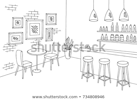 cafe interior elements   modern vector colorful illustration stock photo © decorwithme