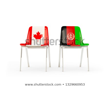 Two chairs with flags of Canada and afghanistan Stock photo © MikhailMishchenko
