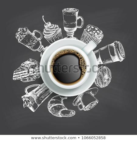 Tiza boceto café vector Foto stock © Sonya_illustrations