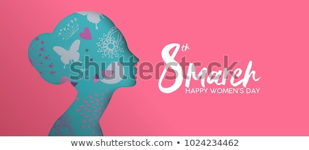Happy Womens Day paper cut banner of woman head Stock photo © cienpies