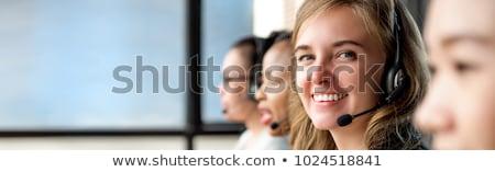 женщину · телефон · гарнитура · служба · бизнеса - Сток-фото © deandrobot