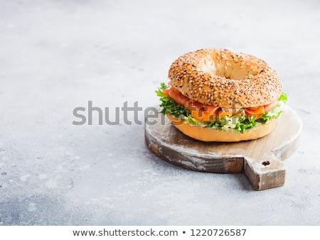 Friss egészséges bagel szendvics lazac saláta Stock fotó © DenisMArt