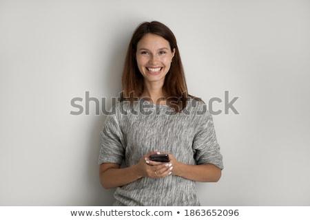 Genç güzel kafkas kırmızı Internet kadın Stok fotoğraf © galitskaya
