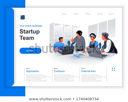 Productive team communication isometric 3D landing page. Foto stock © RAStudio