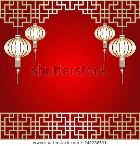 Chinese Seamless Pattern With Frame And Shadow Red And Golden Chinese Clouds Traditional Ornament B Photo stock © MeiKIS