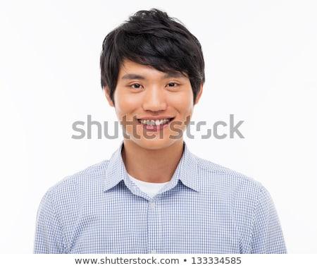 mutlu · genç · Asya · adam · konuşma - stok fotoğraf © deandrobot