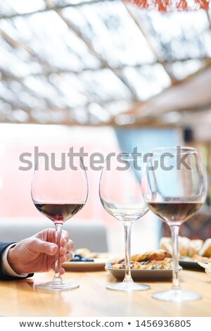 Hand of contemporary winery expert taking one of wineglasses with cabernet Stock photo © pressmaster