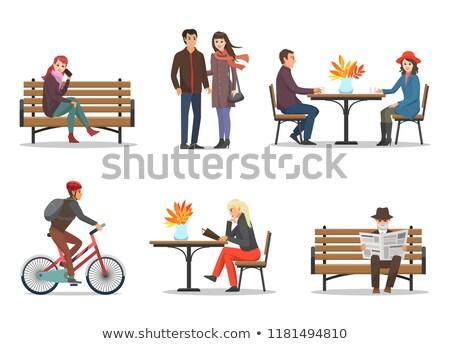 homem · mulher · cotidiano · vetor · parque - foto stock © robuart