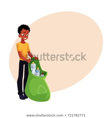 Vrijwilliger fles zak prullenbak vector Stockfoto © robuart