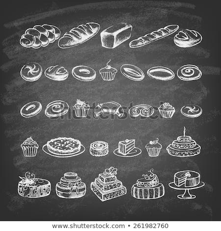 Pizarra dibujo muffin icono pizarra vector Foto stock © cidepix