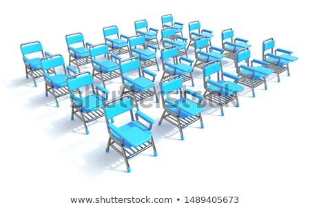 Grupo vinte azul estudante cadeiras 3d render Foto stock © djmilic