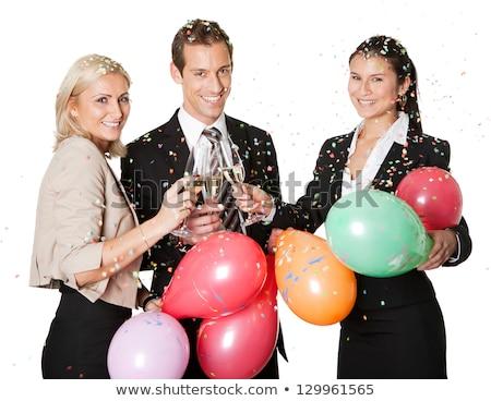 mutlu · çift · şampanya · Noel · parti - stok fotoğraf © freedomz