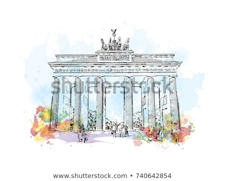 üst · Brandenburg · Kapısı · Berlin · Almanya · Bina · at - stok fotoğraf © unkreatives