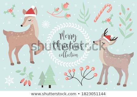 クリスマス · 冬 · 森林 · 鹿 · ツリー · 雪 - ストックフォト © liolle