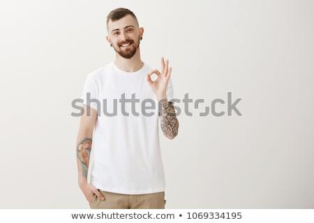 красивый молодым человеком татуировка пирсинга человека Сток-фото © Lopolo
