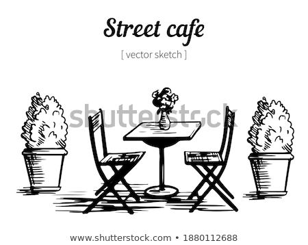 Exterior of Cafe, Flower in Pot, Menu Vector Stock photo © robuart