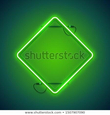 Tér zöld neon keret gyors könnyű Stock fotó © Voysla