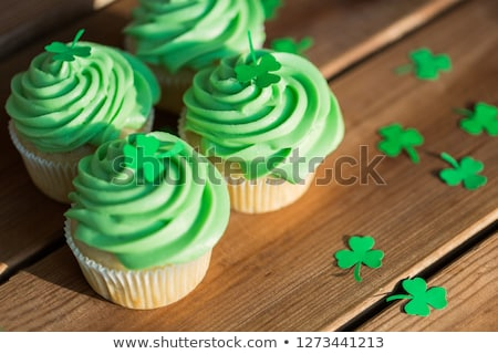 green cupcakes and st patricks day party props Stock photo © dolgachov