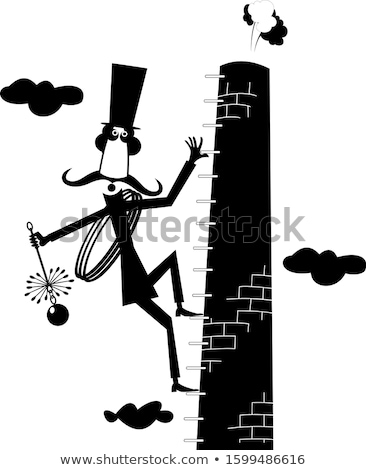 Funny long mustache chimney sweeper illustration Stock photo © tiKkraf69
