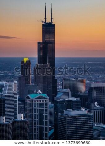 Chicago belváros éjszaka naplemente város folyó Stock fotó © vichie81