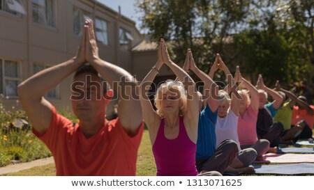 Front widoku starszy grupy zagęszczony jogi Zdjęcia stock © wavebreak_media