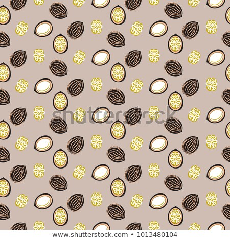Blue and orange stylized walnut vector seamless pattern. Stock photo © yopixart