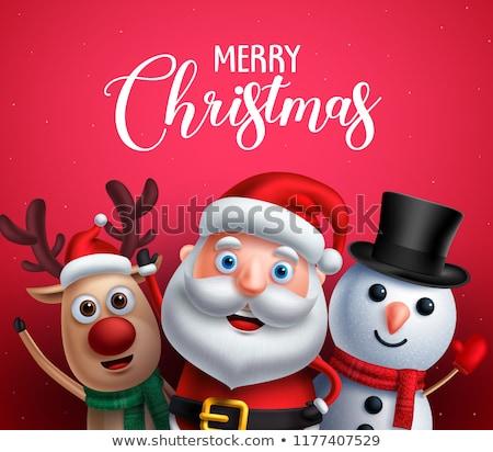 Sneeuwpop herten vieren christmas winter Stockfoto © liolle