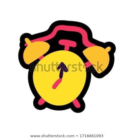 Alarm clock stitched frame flat color sticker Stock photo © barsrsind